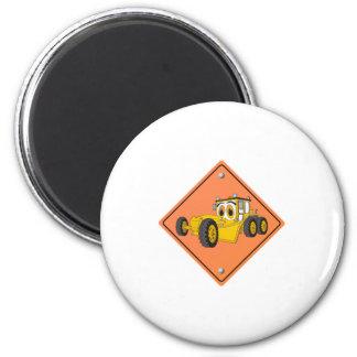Cartoon Road Grader Sign 2 Inch Round Magnet