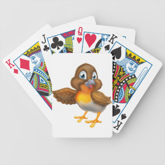 Cartoon Robin Bird Pointing Wing Bicycle Playing Cards