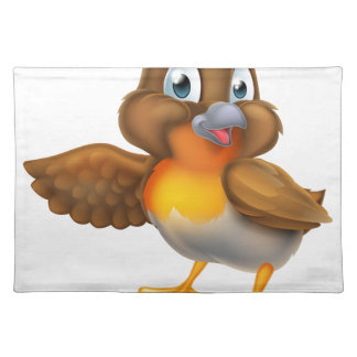 Cartoon Robin Bird Pointing Wing Placemat