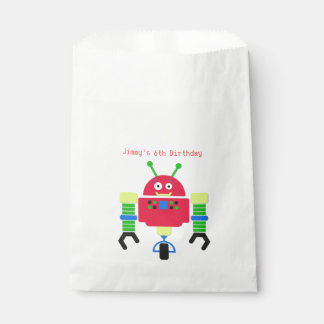 Cartoon Robot Birthday Party Favor Bag