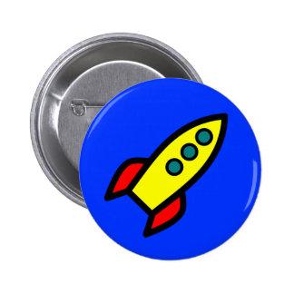 Cartoon Rocket Ship 2 Inch Round Button