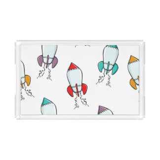 Cartoon Rocket Ship Fun Design Acrylic Tray