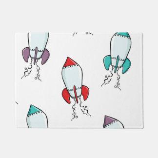 Cartoon Rocket Ship Fun Design Doormat