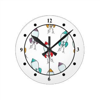 Cartoon Rocket Ship Fun Design Round Clock