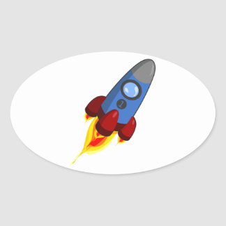 Cartoon Rocketship Oval Sticker