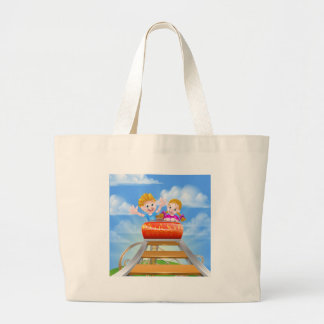 Cartoon Roller Coaster Large Tote Bag