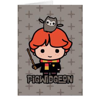 Cartoon Ron Weasley and Pigwidgeon Card