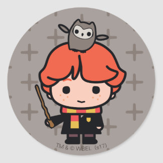 Cartoon Ron Weasley and Pigwidgeon Classic Round Sticker