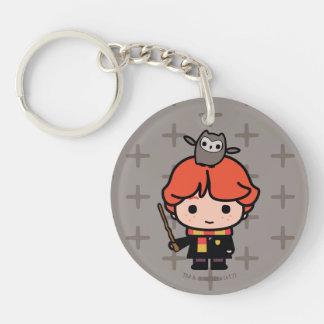 Cartoon Ron Weasley and Pigwidgeon Keychain