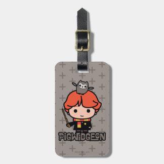 Cartoon Ron Weasley and Pigwidgeon Luggage Tag