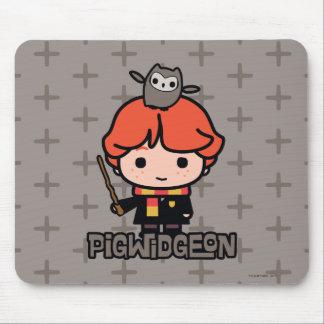 Cartoon Ron Weasley and Pigwidgeon Mouse Pad