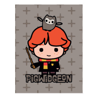 Cartoon Ron Weasley and Pigwidgeon Postcard
