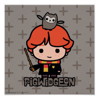 Cartoon Ron Weasley and Pigwidgeon Poster