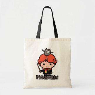 Cartoon Ron Weasley and Pigwidgeon Tote Bag