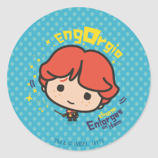 Cartoon Ron Weasley Engorgio Spell Classic Round Sticker
