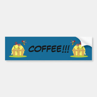 Cartoon Rooster Crowing On Fence Bumper Sticker