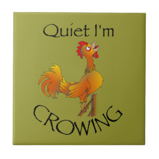 Cartoon Rooster crowing Tile
