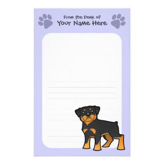 Cartoon Rottweiler Personalized Stationery