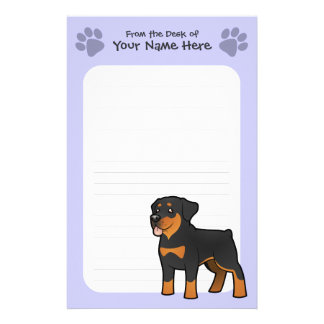 Cartoon Rottweiler Stationery Paper