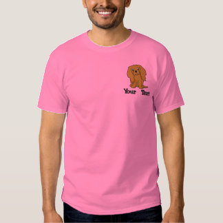 Cartoon Ruby Cavalier King Charles Spaniel Embroidered T-Shirt