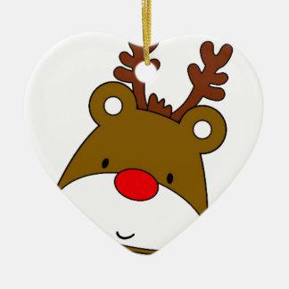 CARTOON RUDOLF CHRISTMAS THEME CERAMIC HEART ORNAMENT
