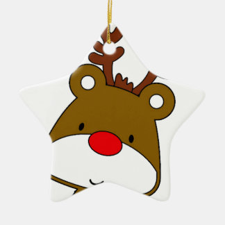 CARTOON RUDOLF CHRISTMAS THEME CERAMIC ORNAMENT