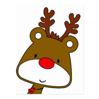 CARTOON RUDOLF CHRISTMAS THEME POSTCARD