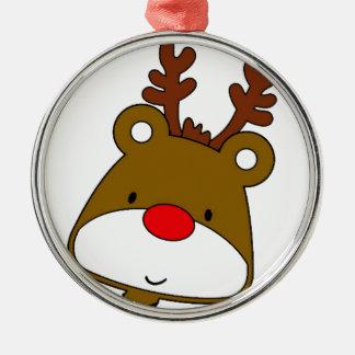 CARTOON RUDOLF CHRISTMAS THEME Silver-Colored ROUND ORNAMENT