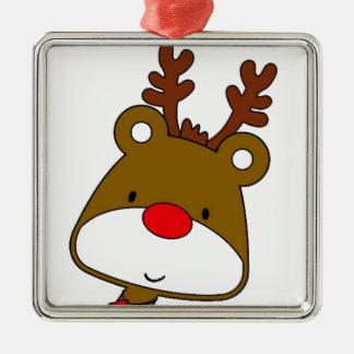 CARTOON RUDOLF CHRISTMAS THEME Silver-Colored SQUARE ORNAMENT