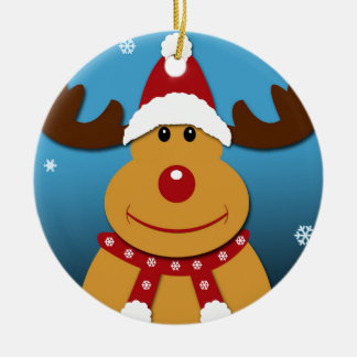 Cartoon Rudolph The Reindeer Christmas Gifts Ceramic Ornament