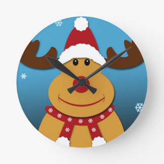 Cartoon Rudolph The Reindeer Christmas Gifts Round Clock