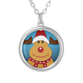 Cartoon Rudolph The Reindeer Christmas Gifts Silver Plated Necklace