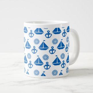 Cartoon Sail Boat Pattern Large Coffee Mug