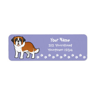Cartoon Saint Bernard Return Address Label