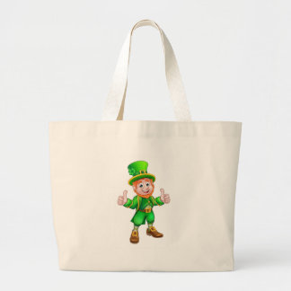 Cartoon Saint Patricks Day Leprechaun Large Tote Bag