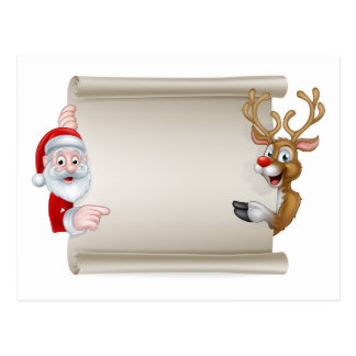 Cartoon Santa and Christmas Reindeer Scroll Postcard
