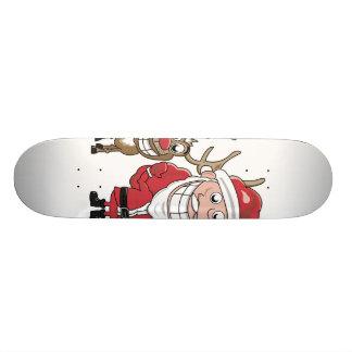 Cartoon Santa and Skateboard