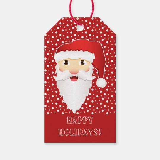 Cartoon Santa Claus Head & Happy Holidays Text Red Gift Tags