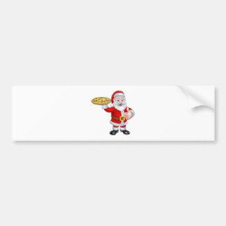 Cartoon Santa Claus Holding Pizza Bumper Sticker