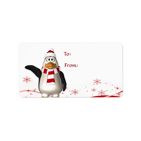 Cartoon Santa Claus Penguin Christmas Gift Tag