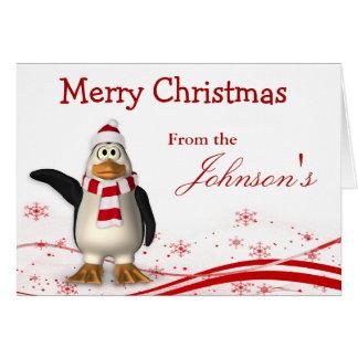 Cartoon Santa Claus Penguin Christmas Greeting Card