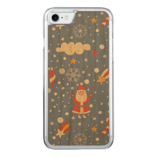 Cartoon Santa Claus snowflakes - Xmas gifts Carved iPhone 8/7 Case