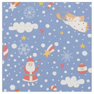Cartoon Santa Claus snowflakes - Xmas gifts Fabric