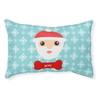 Cartoon Santa Claus With Red Dog Bone & Name Pet Bed