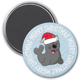 cartoon santa seal / Merry Christmas magnet