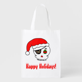 Cartoon Santa Skull Grocery Bags
