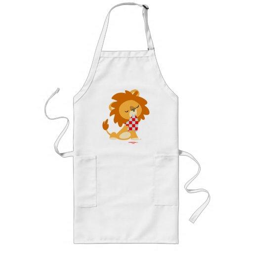 Cartoon Satiated Lion cooking apron