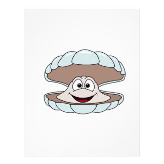 Cartoon Scallop Shellfish Clam Letterhead Template
