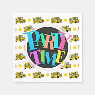 Cartoon School Bus, Yellow & White Polka Dots Disposable Napkins
