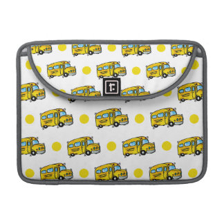 Cartoon School Bus, Yellow & White Polka Dots MacBook Pro Sleeves